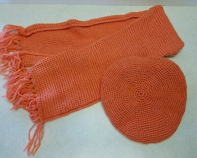 Vintage child crocheted beret scarf set coral peach