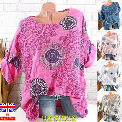 Plus Size Womens Gypsy Boho Long Sleeve Blouse Hippies Loose Tops Ladies T Shirt