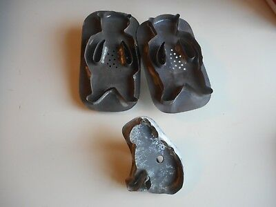 3 Antique soldered Tin Cookie Cutters !  Twin Bears & Seated Cat Cookie Cutters