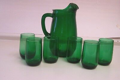 Vintage FOREST GREEN ANCHOR HOCKING Pitcher (36 Oz.) and 6 Glasses
