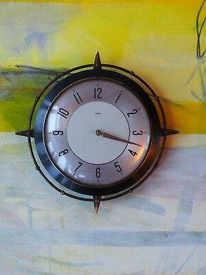 ''''vintage wall clock in glass and metal cage in great condition 1970 fantastic