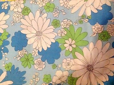 Sheet Monticello Vintage Blossom Festival Blue Flower Power Twin Flat MOD