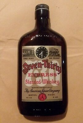 Vintage 1940s Seven Thirty Express Pint Whiskey Flask