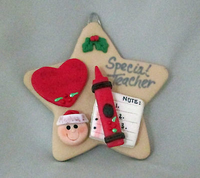 Special Teacher Star Cookie Dough Christmas Ornament Gift Boxed Crayon Heart