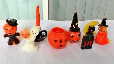 7 Vintage Halloween GURLEY Candles, Witch, Jack O Lanterns Ghost Cat JOL Candle