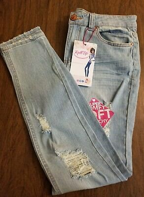 NWT Almost Famous Womens Roll Up Light Wash Jeans Size 15