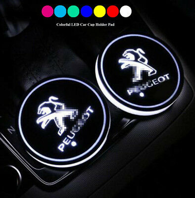 Switchable 7 Colors LED Car Cup Holder Bottom Pad Atmosphere Light For Peugeot