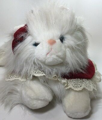 Vintage Large Plush White Persian Long Haired Cat Stuffed Velvet Collar Red Bow