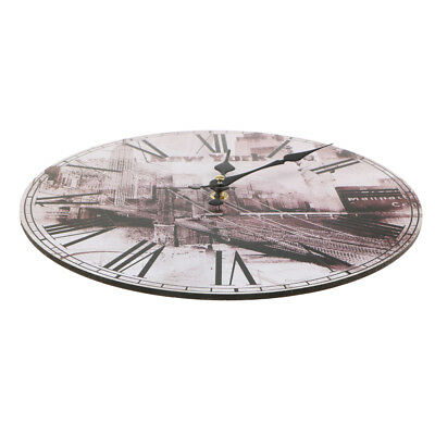 11.8'' Dia Large Retro Rustic Wooden Wall Clock Kitchen Shabby Chic Home #4