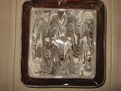 Vintage Chipping Campden Pottery Tray Swirl Pattern 16cm Square