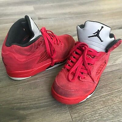 3148967302d Nike Air Jordan Retro 5 Flight Suit University Red Suede Black 440889-602  Sz 12C