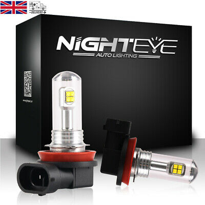 Pair NIGHTEYE H11 160W LED Fog Light Bulb DRL Replace Halogen White 6000K 1500LM