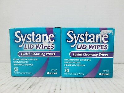 2 Systane Lid Wipes Eyelid Cleansing Wipes 30 Wipes Each Exp 8/19+ Ll 8132