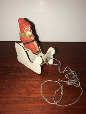Vintage German Christmas Santa Claus Sleigh Sled