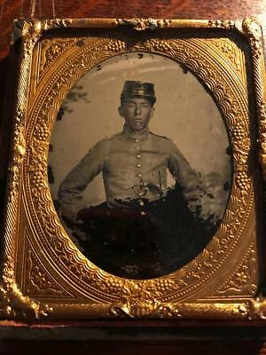 6th plate ambrotype Civil War soldier Confederate in half case with ID