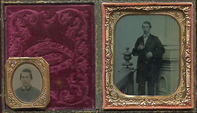 6th plate ambrotype Civil War soldier plus small tintype of him in uniform.