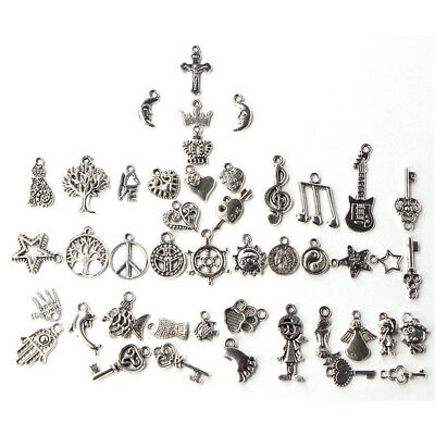 Modern Wholesale 100pcs Bulk Lots Tibetan Silver Mix Charm Pendants Jewelry DIY