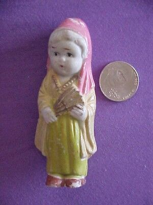 Old Rare Antuque Polly Parrot Shoes Advertising Ceramic Girl Doll Figure Japan