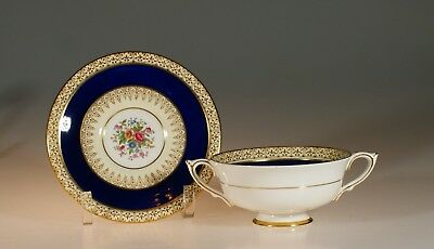 """Paragon """"Grecian"""" Cobalt Blue Floral Cream Soup and Underplate, England c. 1935"""