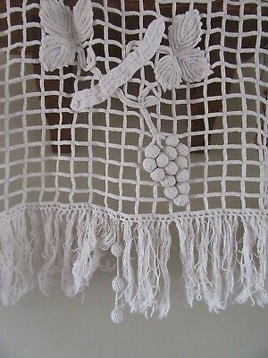 Beautiful Antique French cotton filet window panel,absolutely stunning