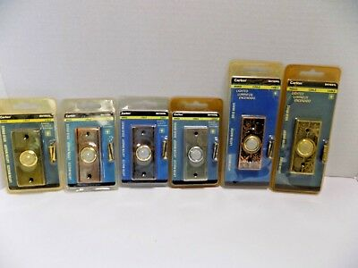 Lot of 6 CARLON SOLID BRASS DOORBELL LIGHTED BUTTON Wired Chime Bell Buzzer NOS