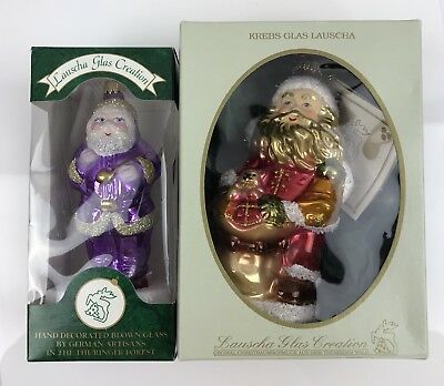 Christmas Santa Ornaments Lot Of 2 german glass About 3 And A Half Inches Box