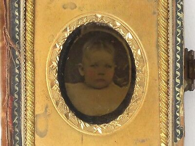 Antique cased ambrotype photo baby tinted unidentified child portrait
