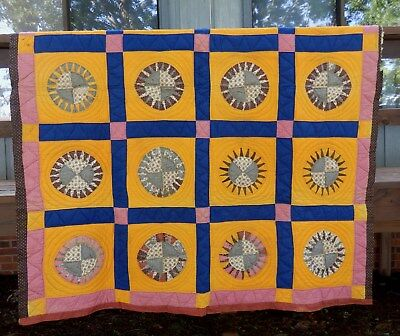 c.1800's SUNBRUST QUILT - GREAT PERIOD FABRICS - HAND QUILTED