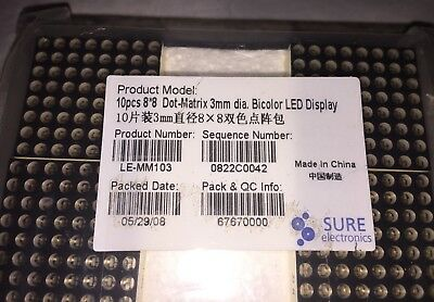 Sure Electronics 10 Pcs Dot Matrix Bicolor LED Display 8x8 New