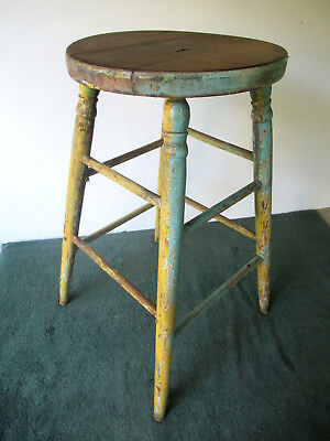 """Antique Stool Old Blue/Yellow Paint Primitive Pine Wood 24"""" Tall Round 13"""" Seat"""