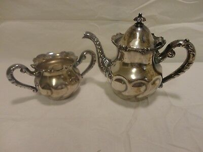 James Tufts Silver Plate Teapot with Lid Elephant Trunk Matching Sugar Bowl