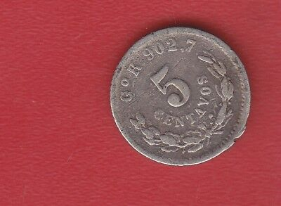 Mexico5  Cents 1894 Silver