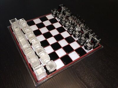 Beautiful and Unique Hand-made Glass Chess Set Signed by Artist Y.N.E.