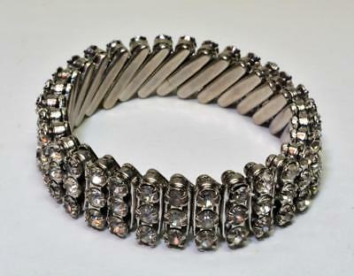 Vintage 60s Silvertone Made British Hong Kong 3 Row Rhinestone Stretch Bracelet