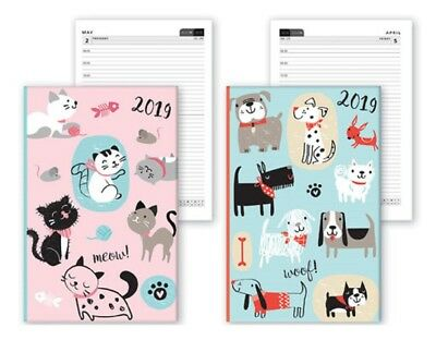 2019 A6 Week Day To View Chunky Diary Pets Cats Dogs Pink Green Christmas Gift