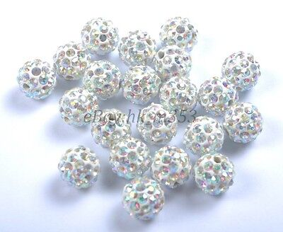 20Pcs Clear AB Crystal Rhinestones Pave Clay Round Disco Ball Spacer Beads 10MM