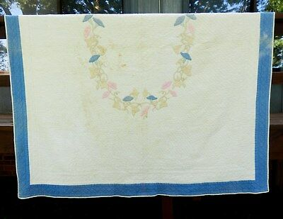 VINTAGE HAND APPLIQUED and QUILTED MORNING GLORY QUILT -WONDERFUL NEEDLEWORK