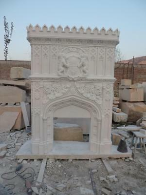 Great Gothic Hand Carved Marble Estate Fireplace Mantel One Of A Kind - Mfp1005