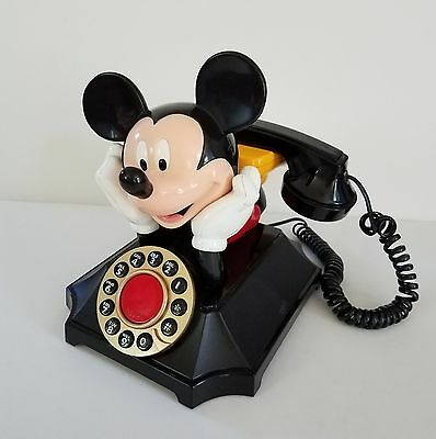 Mickey Mouse Touch Tone Desk Phone Push Button Telemania Segan Works Vintage