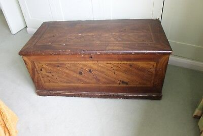 Restoration project vintage ottoman with inlaid wood. Needs lots of attention.