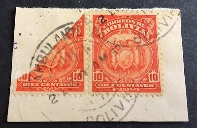 Bolivia 1919 or 1923 - 10 Cent. used cut of half stamp + normal stamp on paper