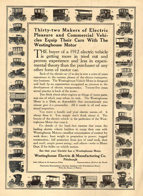1912 Antique Car AD 32 ELECTRIC CAR Makers use WESTINGHOUSE Electric RARE 011918