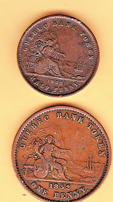 1852 Half Penny & One Penny Quebec Bank Tokens.  Province Of Canada.  Nice Cond.