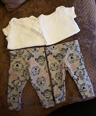 2 Little Miss Bodysuits, 2 Little Miss Leggings & 2 George Bodysuits