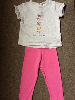 Next Baby Girls Outfit Set Top And Leggings Size 9-12 Months
