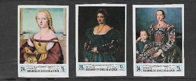 Kingdom Of Yemen 3 Mint Air Mail Stamps - 1968 - Mother's Day Paintings