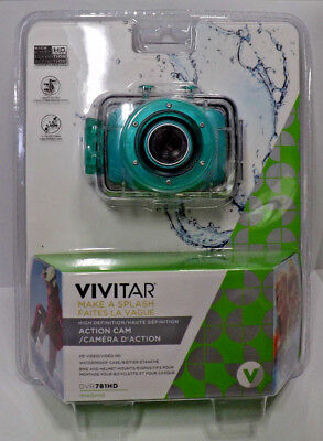 Vivitar DVR781HD High Def Action Cam with Waterproof Case 720p Teal NEW