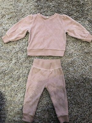 River Island Mini Girls 12-18 Months Pink Velour Sweater Outfit