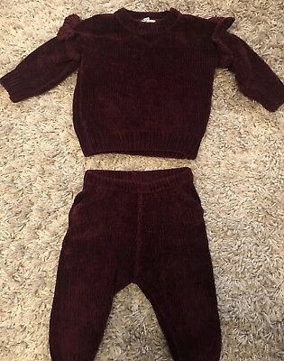 River Island Mini Girls 12-18 Months Chenille Jumper Outfit