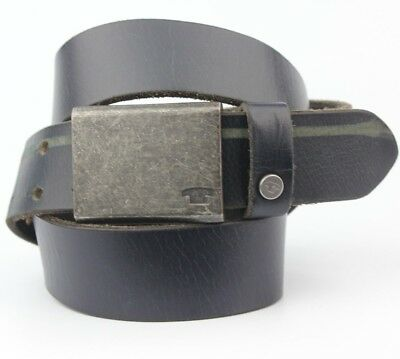 """Vintage Retro Tom Taylor Black Thick Real Leather Belt 35mm Wide Fits 32-34"""" W"""